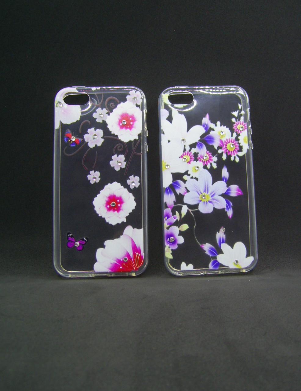 Чехол Huawei Y5 (2017) Silicon Fashion Diamond цветы