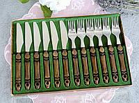 Набор столовых ножей с вилками на шесть персон, нержавеющая сталь, деревянные ручки, Rostfrey Solinger, фото 1