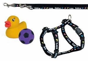Шлейка с поводком и игрушками для щенкков, Трикси 1554 23-34см8мм