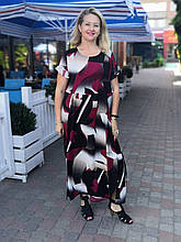 Платье женское  летнее штапель Бохо  батал черно- бордовое  Пл 187 штапель 54,56,58