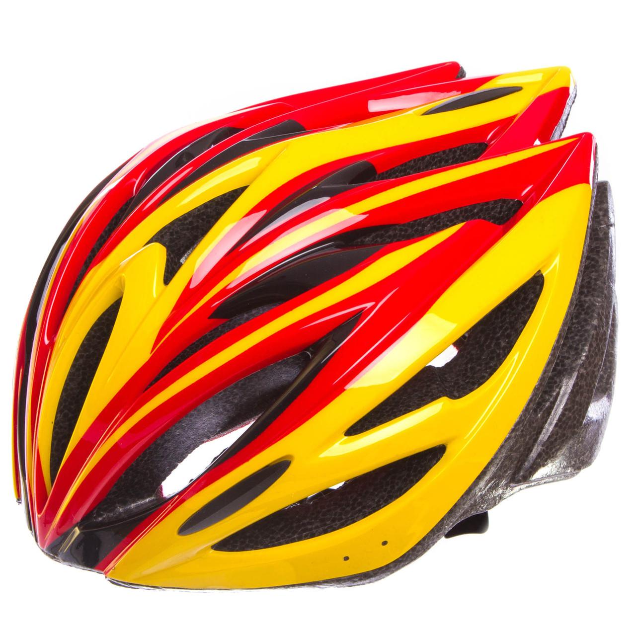 Шлем защитный с механизмом регулировки Zelart, EPS, PE, р-р L-54-56, 12 отверстий, желтый (SK-5612)