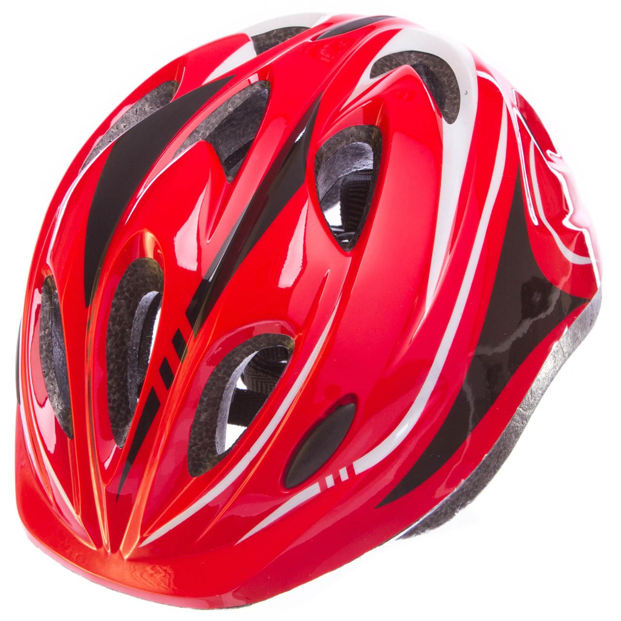 Шлем защитный с механизмом регулировки Zelart, EPS, PE, р-р L-54-56, 12 отверстий, красный (SK-5611)