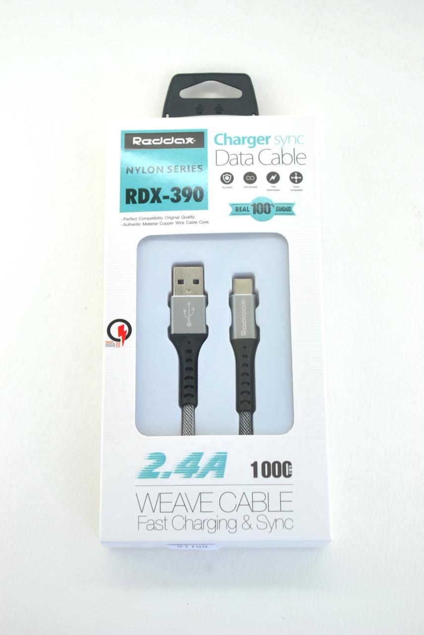 Кабель Usb-cable Type-C RedDax RDX-390 2.4A 1m (круглый) Grey
