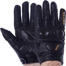 Мотоперчатки кожаные VROTE V003, р-р M-XXL, карбон, черный (V003)