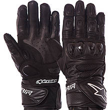 Мотоперчатки кожаные Alpinestars, р-р L-XL, черный (MS-1241)