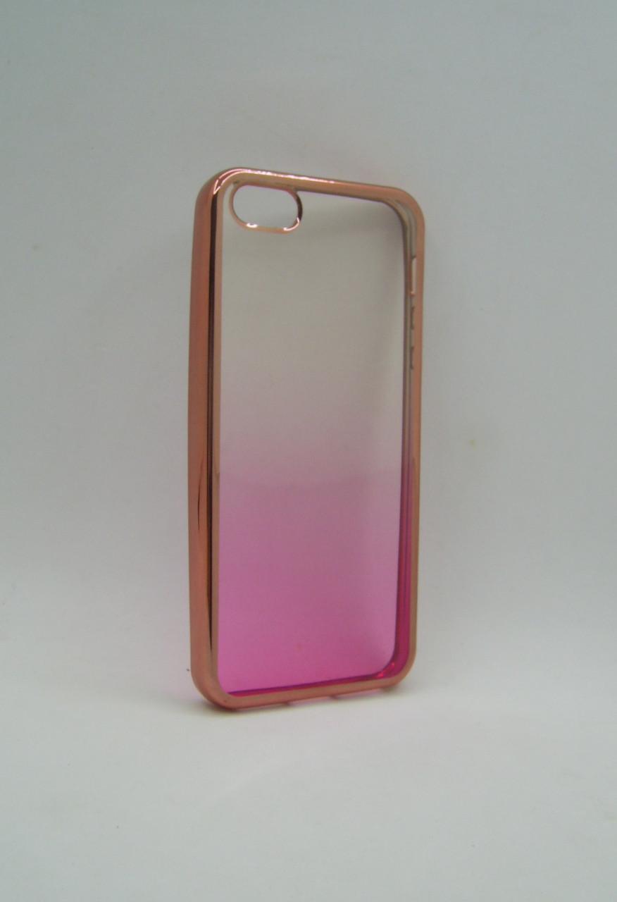 Чехол iPhone 5 Silicon Aspor Golden Collection с отливом pink
