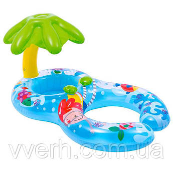 Детский надувной круг-ходунки Intex с навесом Остров 56590