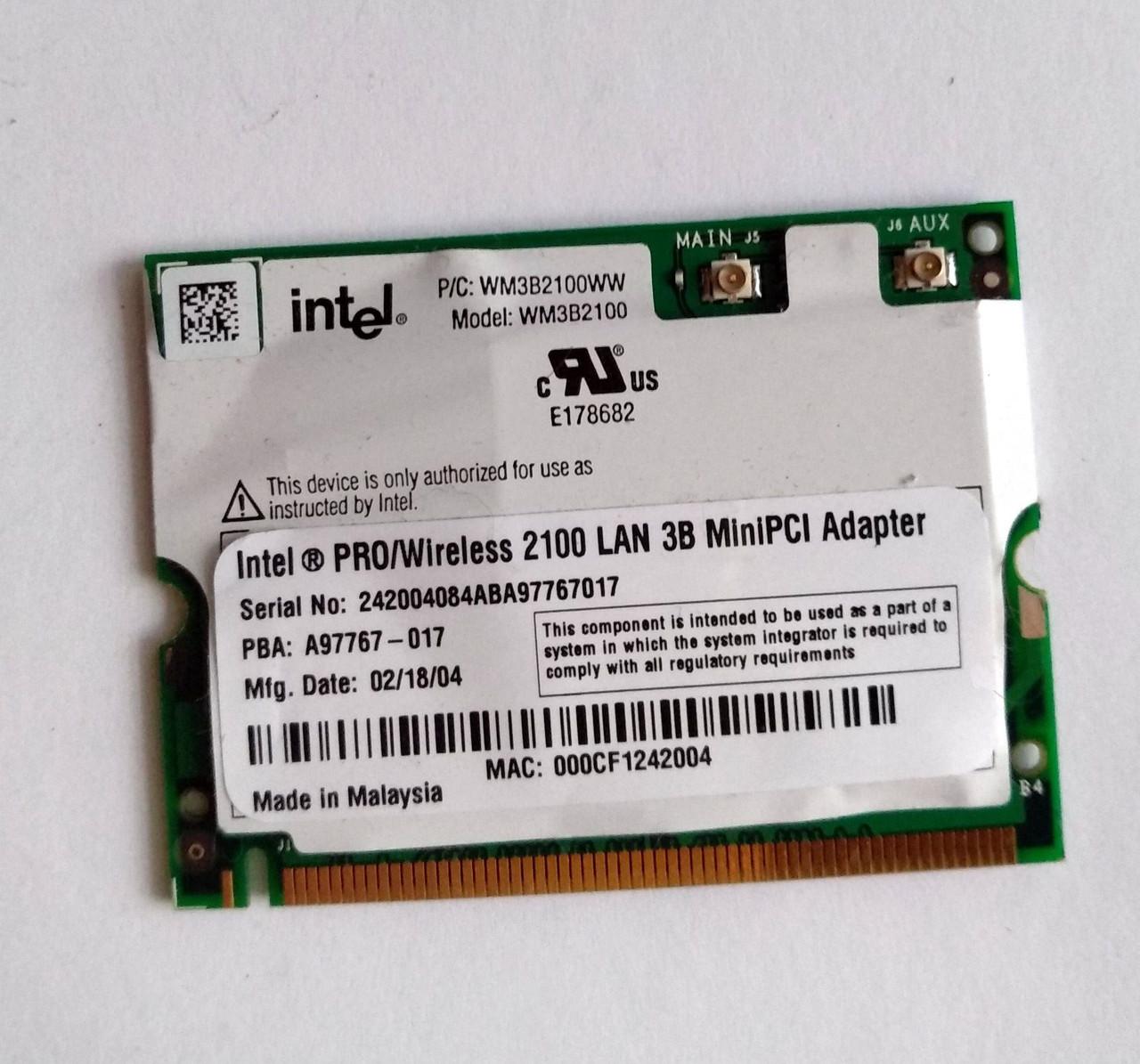 427 Wi-Fi Intel Pro Wireless 2100 WM3B2100WW 802.11 b/g mini PCI 11 Mbps для ноутбука