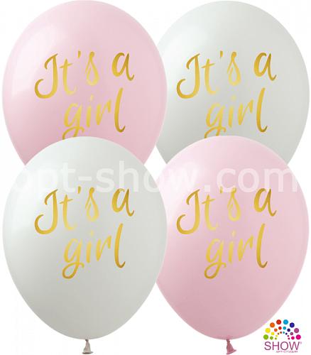 """K 12"""" It's a Girl (1 ст.,роз .,бел.) 100 шт."""