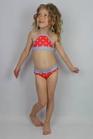 """Купальник девочке раздельный """"Звездочки"""" красный - пляжная одежда для детей, туники, панамы, рубашки"""