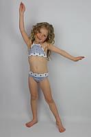 Купальник раздельный для девочки джинсовый с белым - пляжная одежда для детей, туники, панамы, рубашки