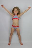 Купальник девочковый раздельный джинсовый с красным - пляжная одежда для детей, туники, панамы, рубашки