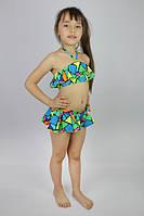 """Купальник раздельный """"Мозаика"""" с юбочкой - пляжная одежда для детей, туники, панамы, рубашки"""