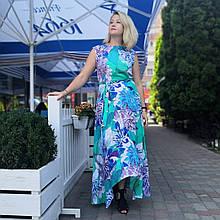 Платье женское в пол  ментол летнее тонкое штапель хлопок сонцеклеш 195-11 бирюза хризантемы