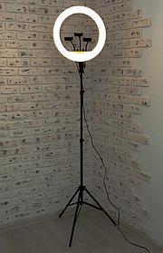 Профессиональная LED 46см кольцевая лампа YQ-460B ,штатив,3 держателя,пульт, кольцо свет