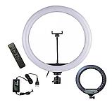 Профессиональная LED 46см кольцевая лампа YQ-460B ,штатив,3 держателя,пульт, кольцо свет, фото 3