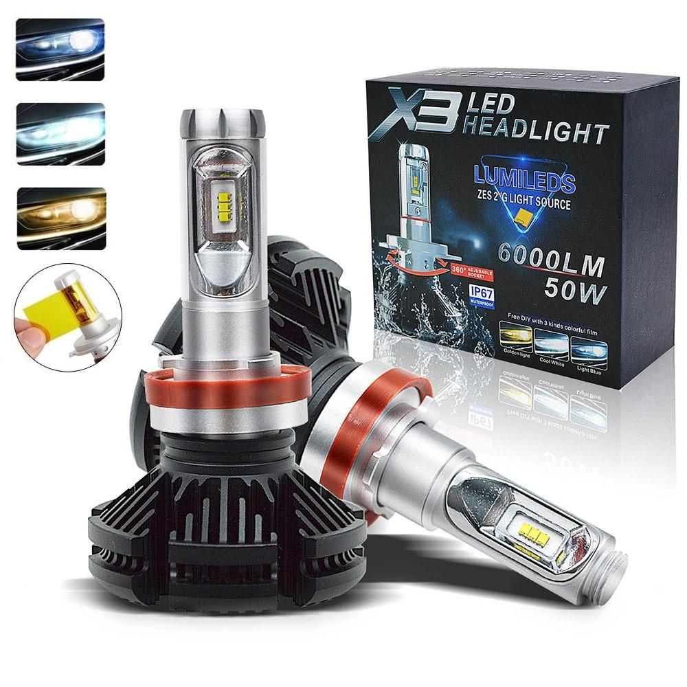 Автомобильные Лед лампы X3 H7 (6000Lm 6500K) + 2 цветовых фильтра