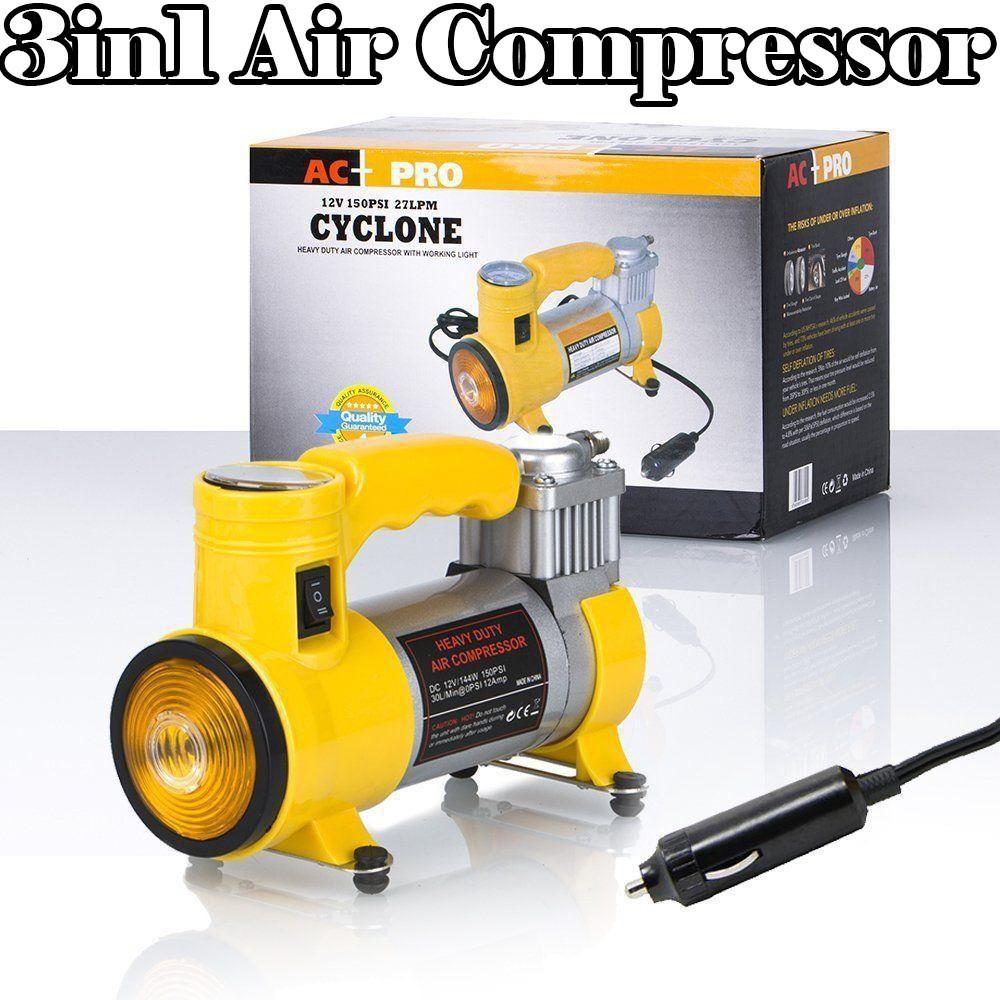 Автомобильный воздушный компрессор CYCLONE + фонарик