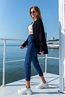 Женские стильные штаны джинс с высокой посадкой, фото 1