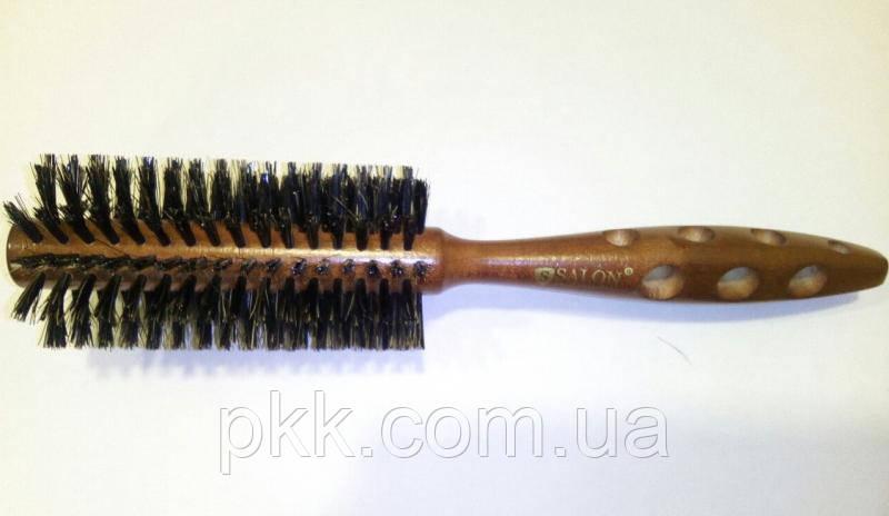 Щётка-брашинг для волос SALON деревянная круглая 2778CH