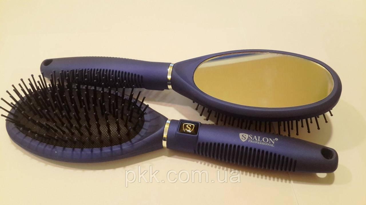 Расчёска для волос SALON массажная пластиковая овальная с зеркалом 9560