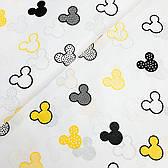 """Польская хлопковая ткань """"Микки черно-желтые на белом"""""""