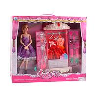 Мебель 589-7 (18шт) гардеробная,шкаф30смплатья 2шт, кукла-шарнирн,30см, аксесс, в кор-ке, 42-37-10см