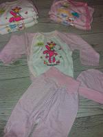 Комплект на виписку дівчинка (шапочка, сорочка, повзунки) білий, розовий