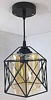 Люстра потолочная подвесная в стиле Loft (лофт) (25х16х19 см.) Матовый черный YR-11770/1
