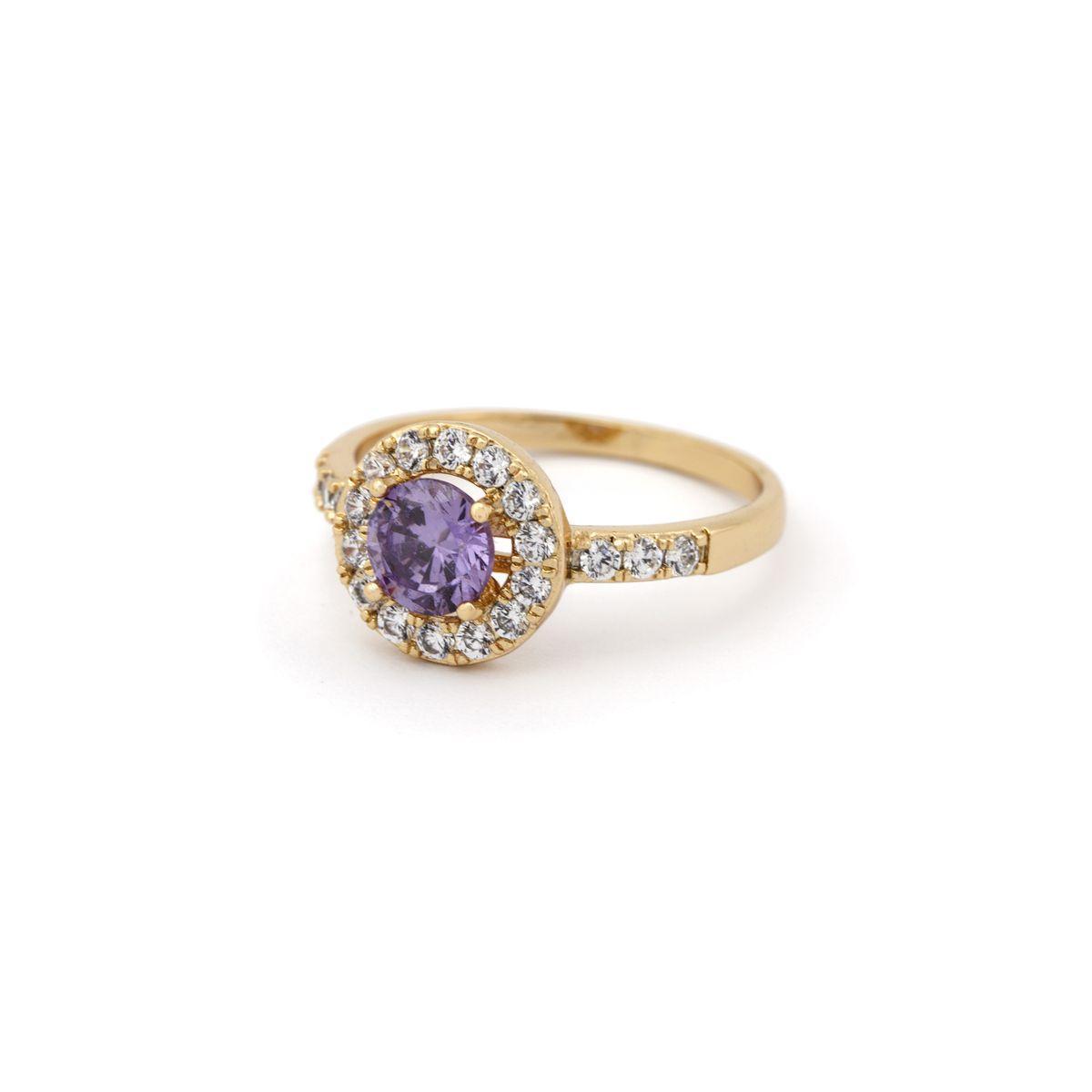 Кольцо в классическом стиле с сиреневым камнем 56