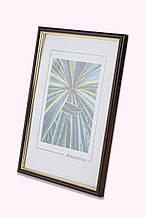 Рамка 13х18 из пластика - Коричневый тёмный с золотом - со стеклом