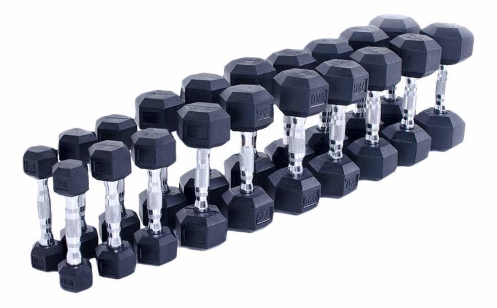 Шестигранні прогумовані гантелі Hexagon від 1 до 10 кг