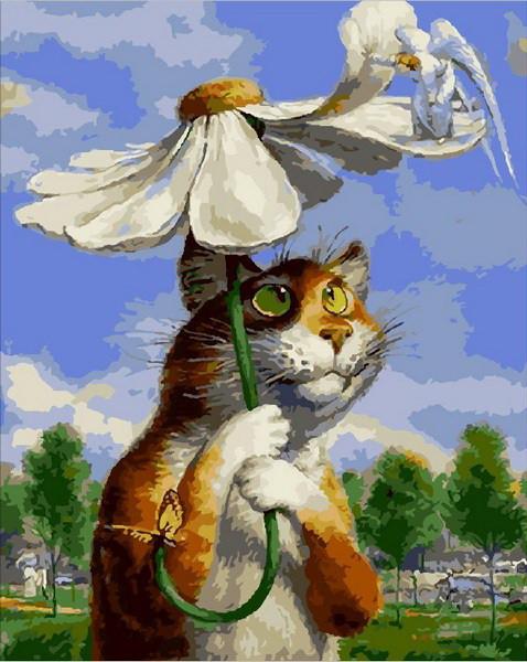 Картина за номерами Babylon Premium Кіт з ромашкою 40*50 см арт.NB2076R