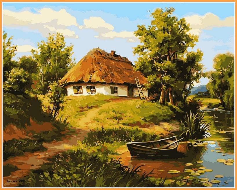 Картина по номерам Babylon Premium Домик возле пруда 40*50 см (в коробке) арт.NB356R
