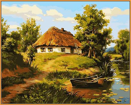 Картина по номерам Babylon Premium Домик возле пруда 40*50 см (в коробке) арт.NB356R, фото 2