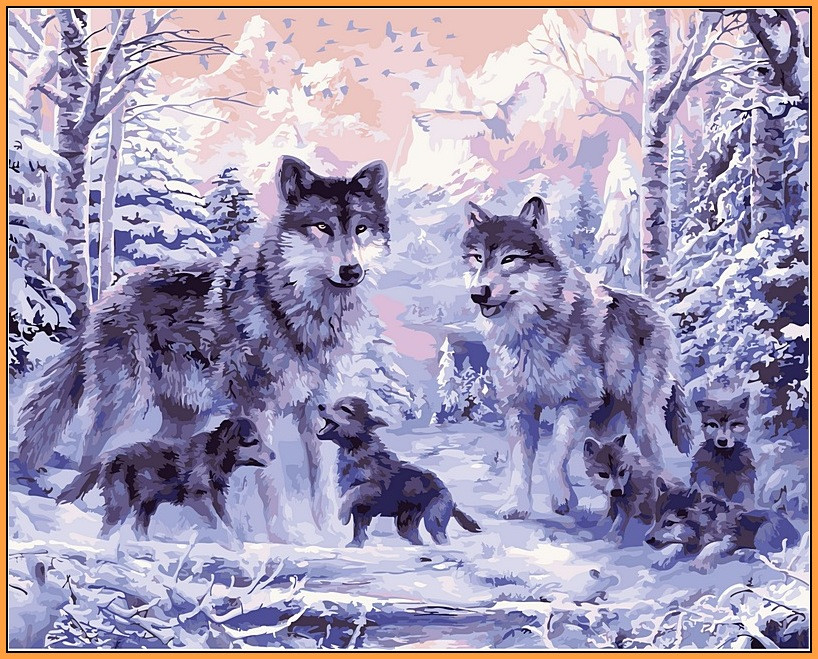 Картина по номерам Babylon Premium Волчье семейство 40*50 см (в коробке) арт.NB466R