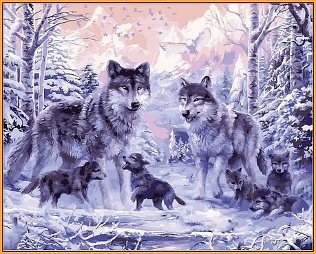 Картина по номерам Babylon Premium Волчье семейство 40*50 см (в коробке) арт.NB466R, фото 2