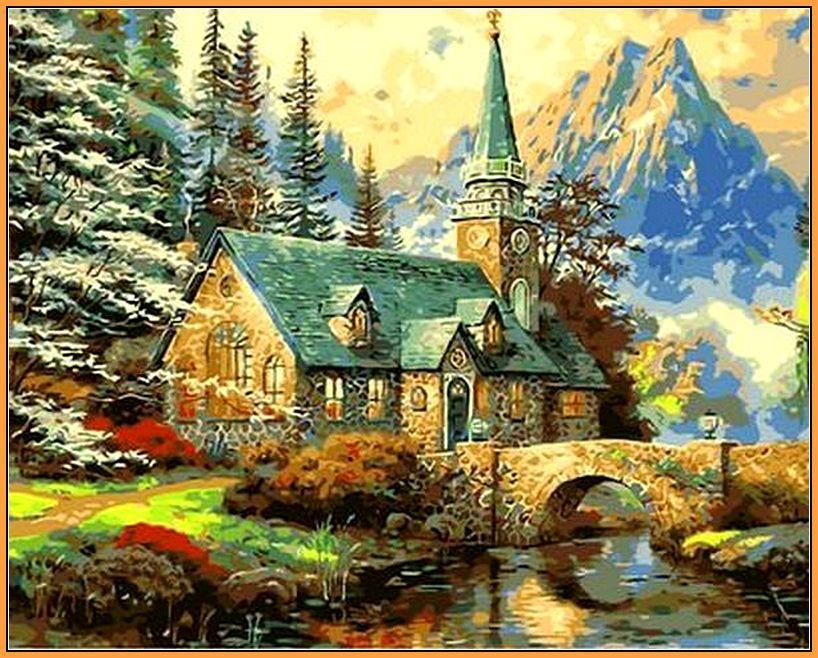 Картина за номерами Babylon Premium Альпійський пейзаж. Каплиця 40*50 см арт.NB497R