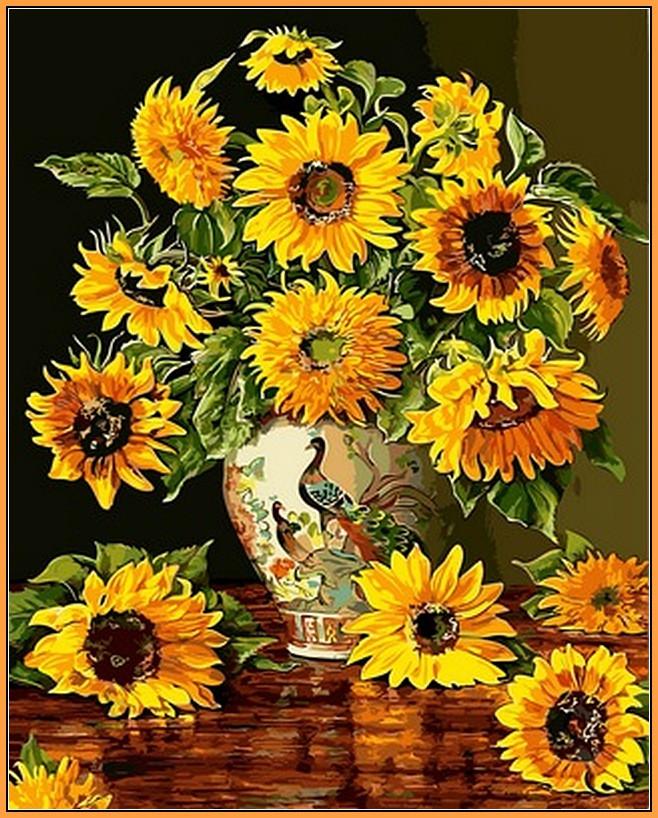 Картина по номерам Babylon Premium Подсолнухи в вазе с павлинами 40*50 см (в коробке) арт.NB946R