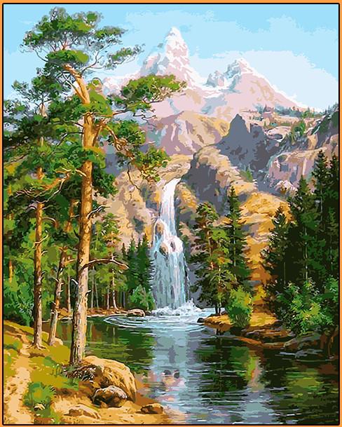 Картина за номерами Babylon Premium Водоспад в сосновому лісі 40*50 см арт.NB957R