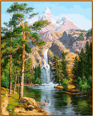 Картина за номерами Babylon Premium Водоспад в сосновому лісі 40*50 см арт.NB957R, фото 2
