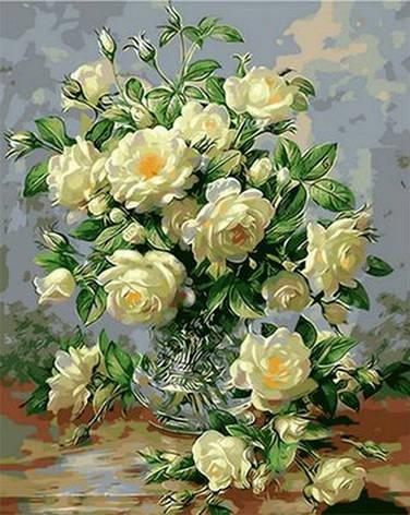 Картина по номерам Babylon Букет белых роз 50*65 см (в коробке) арт.QS1115, фото 2