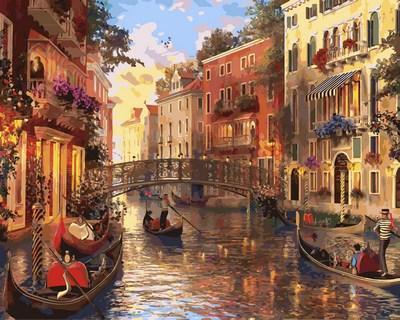 Картина по номерам Babylon Закат в Венеции 50*65 см (в коробке) арт.QS2115