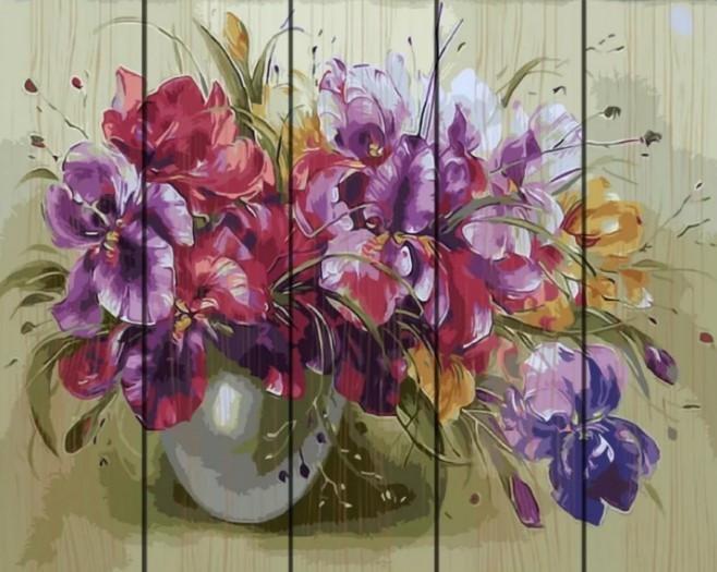 Картина по номерам Rainbow Art Ваза с ирисами 40*50 см на дереве (в коробке) арт.RA-GXT9363