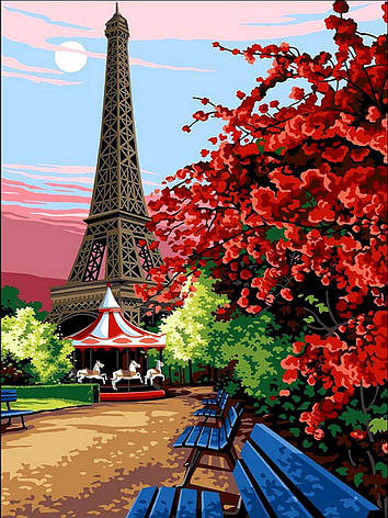 Картина за номерами Babylon Квітучий Париж 30*40 см арт.VK067, фото 2