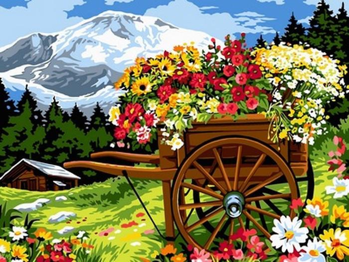 Картина за номерами Babylon Візок квіткаря 30*40 см арт.VK093