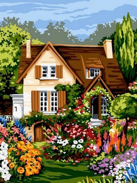 Картина по номерам Babylon Домик среди цветов 30*40 см (в коробке) арт.VK094