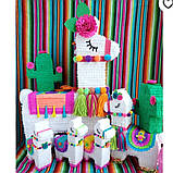 Красивая пиньята лама пината на день рождения бумажная для праздника яркая Лама пиньята для девочки белая лама, фото 2