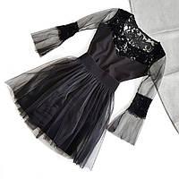 Черное короткое платье с сеткой и съемной фатиновой юбкой в комплекте