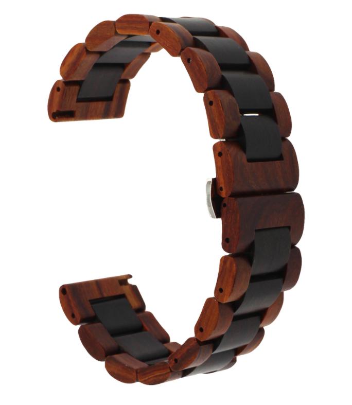 Браслет для Samsung Galaxy Watch 46mm | Samsung Gear S3 Ремешок 22мм из дерева Коричнево - черный от BeWatch